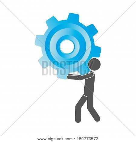 silhouette pictogram man holding a colorful pinion vector illustration