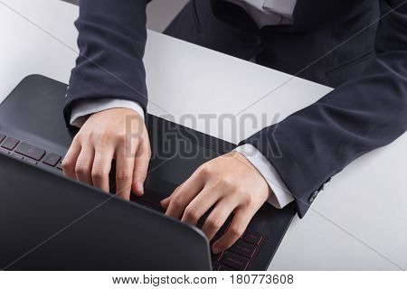 Business Hand Typing Keyboard Of Laptop