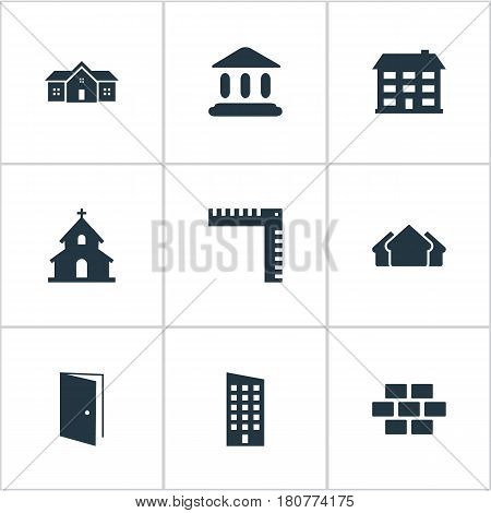 Vector Illustration Set Of Simple Construction Icons. Elements Stone, Shelter, Gate And Other Synonyms Open, Home And Religious.
