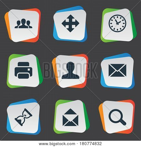 Vector Illustration Set Of Simple Apps Icons. Elements Watch, Envelope, Magnifier And Other Synonyms Enlarge, Human And User.