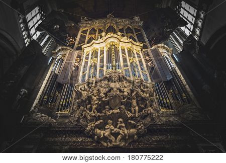 AMSTERDAM (NETHERLANDS) - CIRCA JANUARY 2017: Historic pipe organ in Amsterdam cathedral, Netherlands