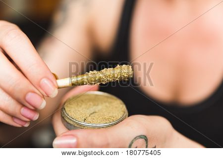 Marijuana Joint With Wax, Oil, And Kief