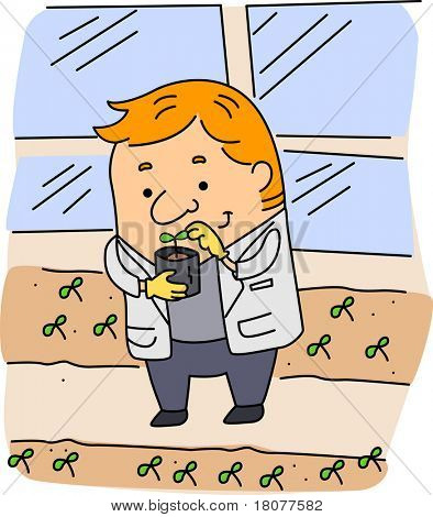 Illustration of an Agricultural Scientist at Work