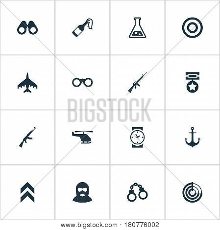 Vector Illustration Set Of Simple War Icons. Elements Radio Locator, Molotov, Rifle Gun And Other Synonyms Chopper, Time And Insignia.