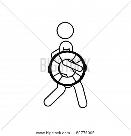 silhouette pictogram male with lifeguard float vector illustration