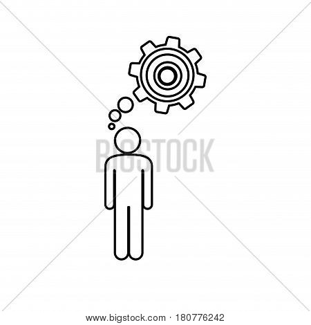 silhouette pictogram man thought in a pinion vector illustration