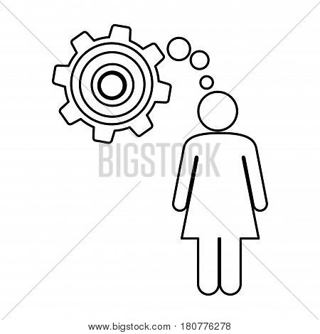 silhouette pictogram woman thought in a pinion vector illustration