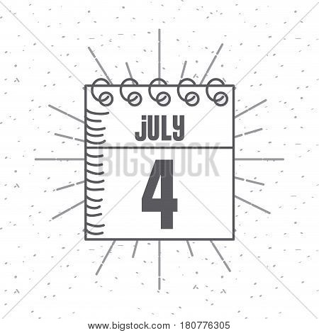 calendar with usa indepence day date icon over white background. vector illustration