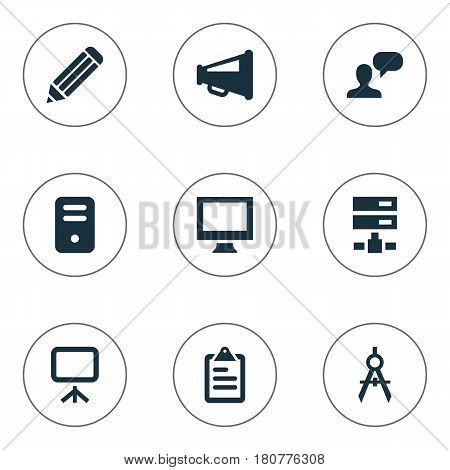 Vector Illustration Set Of Simple Icons Icons. Elements System Unit, Circle Compass, Bullhorn And Other Synonyms Illustration, Slideshow And Compass.