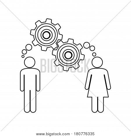silhouette pictogram man and woman with thought in a pinions vector illustration