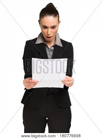 Astonished woman reading a document. Isolated on white