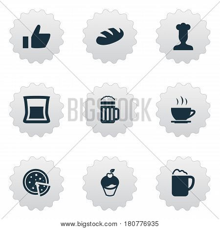 Vector Illustration Set Of Simple Beverage Icons. Elements Gastronomy, Pub, Beer And Other Synonyms Chef, Favorite And Pub.