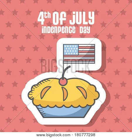 usa indepence day card with pie icon over red background. colorful design. vector illustration
