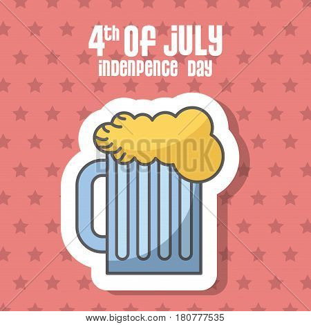 usa indepence day card with beer jar icon over red background. colorful design. vector illustration