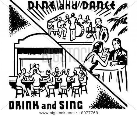 Dine And Dance 2 - Retro Ad Art Banner
