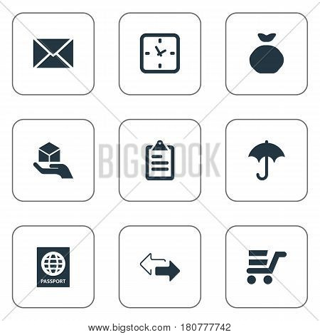 Vector Illustration Set Of Simple Distribution Icons. Elements Holdall, Pushcart, Opposite Directions And Other Synonyms Arrow, Message And Time.