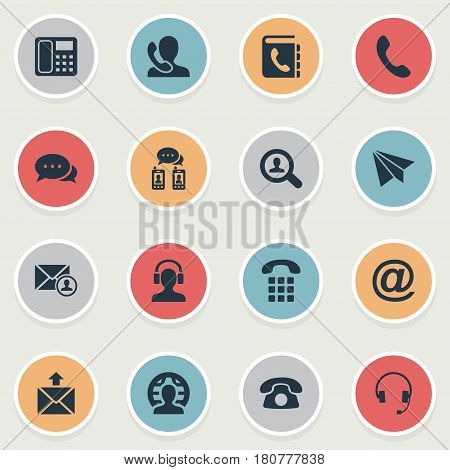 Vector Illustration Set Of Simple Connect Icons. Elements House Phone, Dialogue, Telephone Directory And Other Synonyms Speaking, Job And Home.