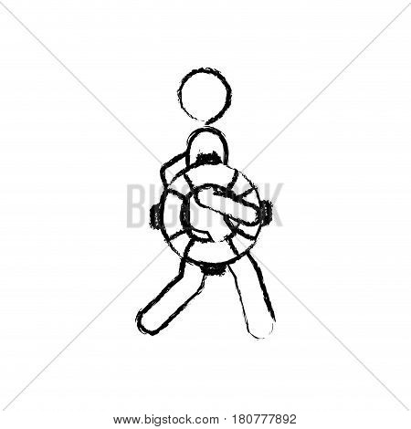 blurred silhouette pictogram male with lifeguard float vector illustration