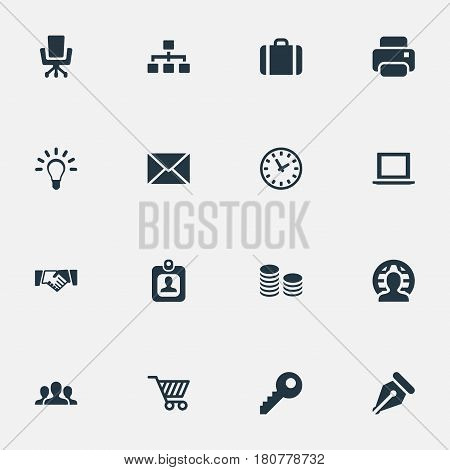 Vector Illustration Set Of Simple Commerce Icons. Elements Hard Money, Clock, Password And Other Synonyms Computer, Currency And Envelope.