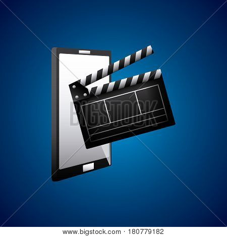 clapboard and smartphone icons over blue background. colorful design. vector illustration
