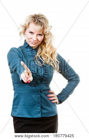 Adult Blondie Woman Making Hand Gesture