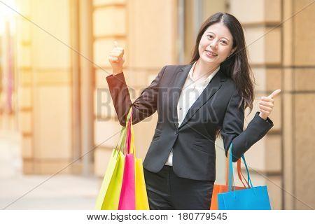 Shopper Woman In City Shopping Thumbs Up Having Fun