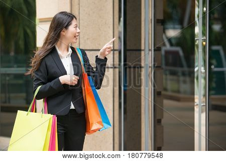 Shopping Business Woman Looking At Window Display