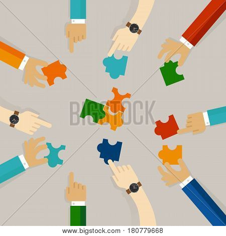 team work hand holding pieces of jigsaw puzzle try to solve problem together. business concept of synergy in flat illustration vector