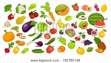 Natural organic fruit and vegetable collection on white. Vector colorful poster of summer and autumn bio products whole and parts near. Juicy watermelon, green apple, red pepper, orange pumpkin etc.