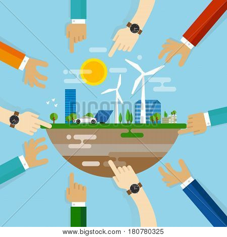 eco friendly city development planning together collaboration with community on managing livable sustainable world vector