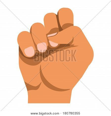 Human raised fist as mean of nonverbal communication that shows protest. Vector colorful illustration in realistic design of bent four fingers held by thumb. Body language template in flat style