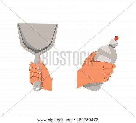 Hands holding grey shovel for cleaning and detergent in bottle isolated on white. Close up vector poster in flat design of two human arms with special tools for making house and dishes clear.