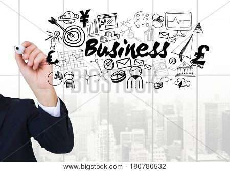Digital composite of Businessman writing and Business text with drawings graphics