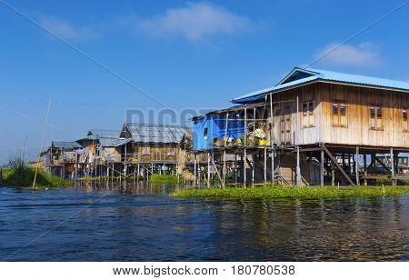 Traditional floating village at Inle Lake, Myanmar ( Burma )