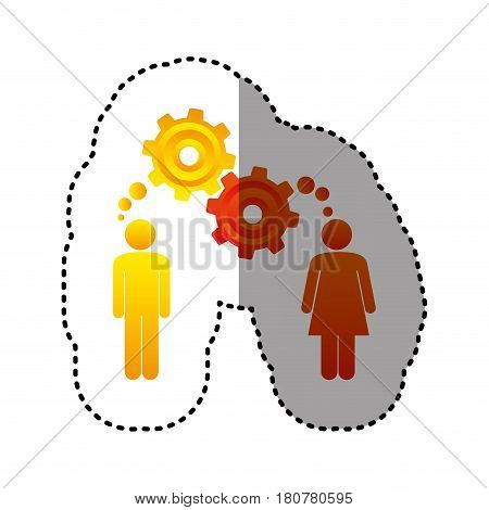 sticker colorful pictogram man and woman with thought in a pinions vector illustration