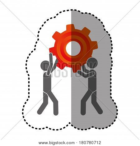 sticker silhouette pictogram men holding a colorful pinion vector illustration