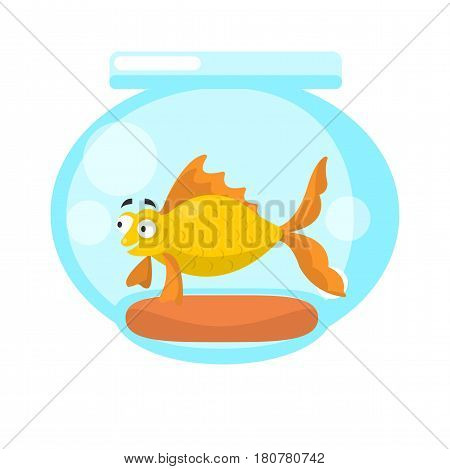Golden fish in transparent aquarium isolated on white. Vector illustration of aquatic animal swimming in fishbowl, marine inhabitant as home pet for children, fishtank or tank bowl with stone