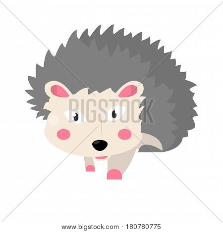 Hedgehog animal isolated on white vector illustration in flat design. Small domestic or wild live creature with pinky ears and cheeks, many grey sharp needles for carrying food, funny cartoon sticker