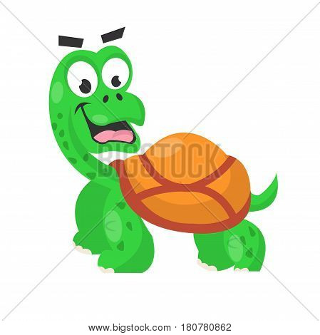 Smiling cute green turtle with dark spots with light brown shell isolated on white vector illustration. Tortoise in flat design standing on paws and looking surprisingly, cartoon sticker for children