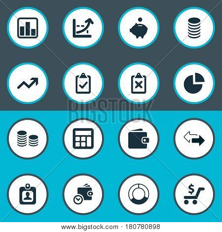 Vector Illustration Set Of Simple Financial Icons. Elements Wallet, Cross On Clipboard, Authentication And Other Synonyms Segmentation, Pig And Discount.