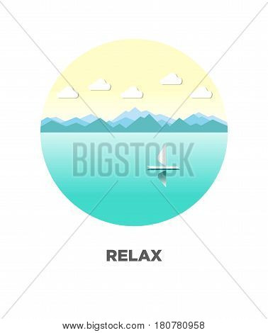 Relaxing landscape of river on isolated logotype on white. Vector colorful illustration in flat design of calm lake with one floating sail boat with mountains or trees and clouds on background