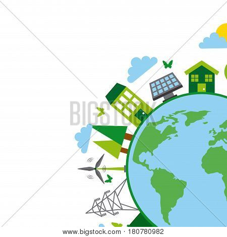 earth planet and sustainability and ecology related icons over white background. colorful design. vector illustration