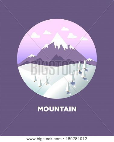 Mountain landscape in round logo flat icon isolated on dark violet background. Picture of high hills with ground and many trees covered with snow, light clouds on sky. Highland template vector icon