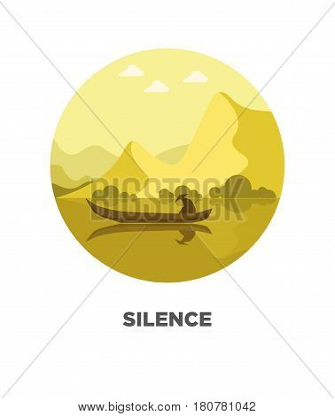 Silence template on round logotype with isolated man wearing coat and hat in boat on river with high mountains and trees on background. Tranquility on water vector colorful label in flat design.
