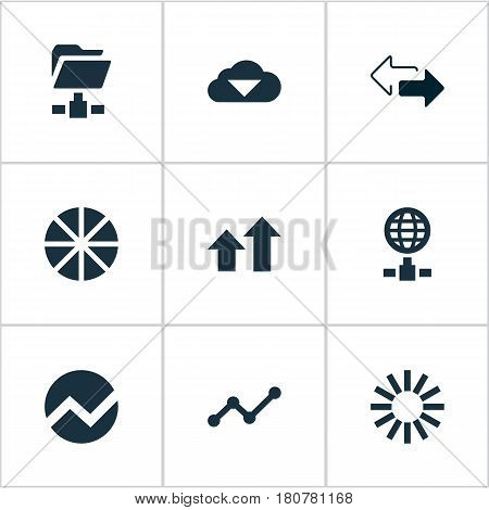 Vector Illustration Set Of Simple Information Icons. Elements Internet Server, Double Arrow, Economy And Other Synonyms Folder, Internet And Online.