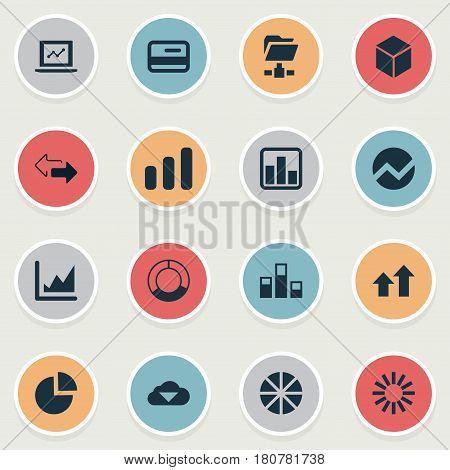 Vector Illustration Set Of Simple Business Icons. Elements Spreading Chart, Progress, Cycle Chart And Other Synonyms Growth, Chart And Statistics.