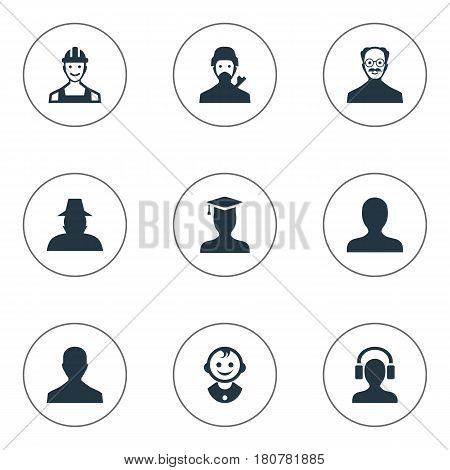 Vector Illustration Set Of Simple Member Icons. Elements Young Shaver, Agent, Male User And Other Synonyms Whiskers, Profile And Detective.