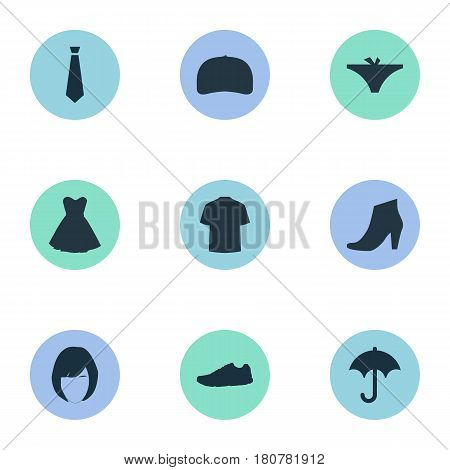 Vector Illustration Set Of Simple Clothes Icons. Elements Panties, Man Clothing, Brolly And Other Synonyms Hairdressing, Tie And Panties.