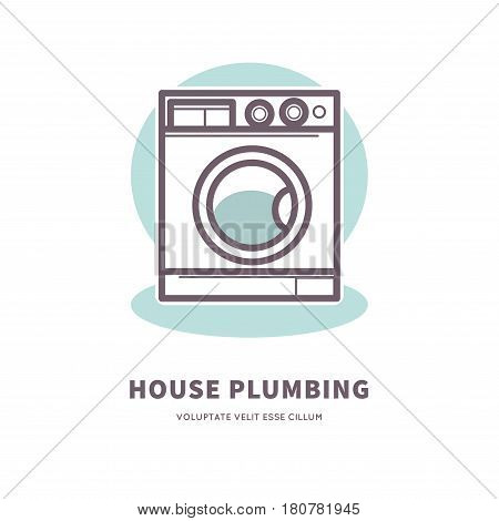 Washing machine icon house plumbing equipment logo vector illustration. Bathroom object with pipes. Logotype design of laundry service, company emblem repairing laundromats, electric washer sign