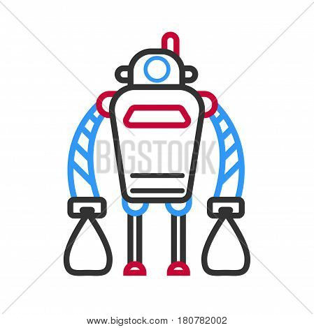 Robot machine with long hands isolated on white background. Vector illustration in flat design of technological device, repairing service character stand on two legs. Futuristic android robotic design